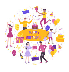 birthday flat composition vector image