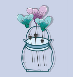 botany flowers with petals in the jar decoration vector image