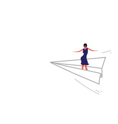 businesswoman flying origami paper plane business vector image