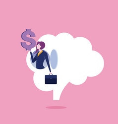 businesswoman make money from idea vector image