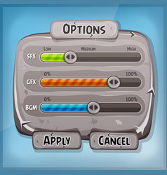 cartoon stone control panel for ui game vector image