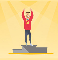Caucasian sportsman celebrating on winners podium vector