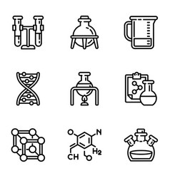 chemical laboratory icon set outline style vector image