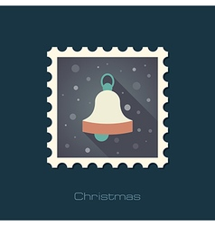 Christmas bell flat stamp vector