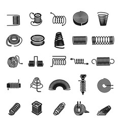 coil spring icon set simple style vector image