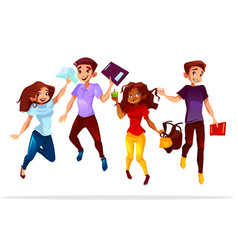 college students jumping up vector image