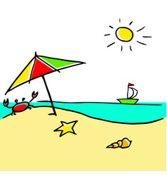 Cool sunny a beach vector