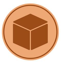 Cube bronze coin vector
