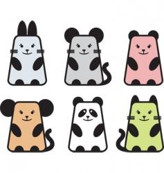 Cute animal icons vector