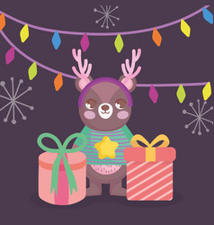 cute bear with gifts and lights merry christmas vector image