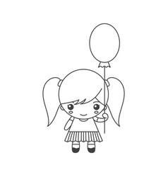cute cartoon little girl with balloon vector image
