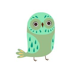 Cute owlet adorable green owl bird vector