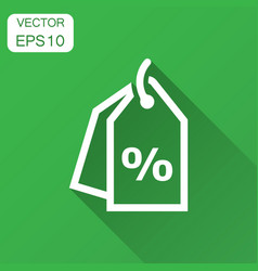 discount percent tag icon in flat style price vector image