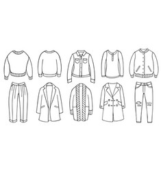 Doodle set female clothes for spring autumn vector