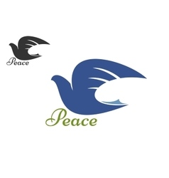 Dove blue silhouette as a symbol of peace vector