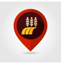 Ears Wheat Barley Rye on Field flat pin map icon vector