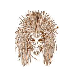 ethnic brown line mask in zentangle style vector image