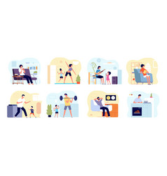 family leisure home people cooking painting play vector image