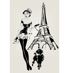 Fashion woman near Eiffel Tower with vector