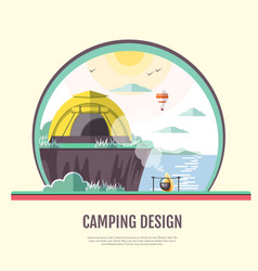 Flat design retro seaside landscape and camping vector
