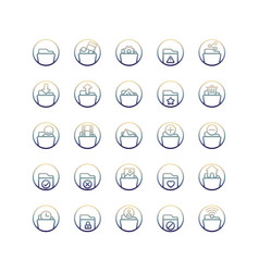 Folder gradient icon set vector