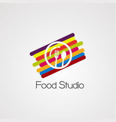 food studio with colorful digital concept logo vector image