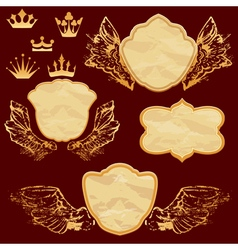 Frame old paper wings 380 vector