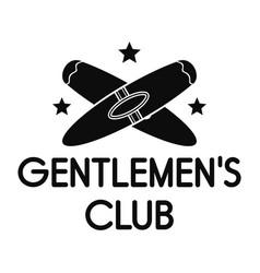 gentlemen cigar club logo simple style vector image
