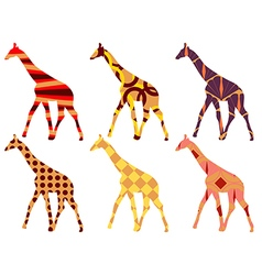 Giraffe in ethnic style set vector