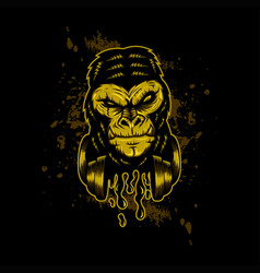 gorilla headphone gold vector image