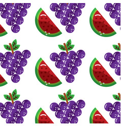 grapes and slice watermelon fruit seamless pattern vector image