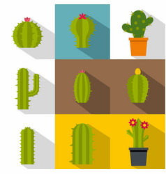 Green cactuses icon set flat style vector