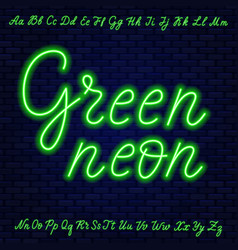 Green neon script uppercase and lowercase letters vector