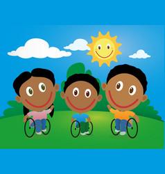 Group of happy children in wheelchair vector