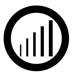 Growth chart icon black color in circle round vector