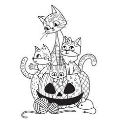 halloween pumpkin and cats doodle coloring book vector image