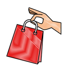 hand with shopping bag isolated icon vector image