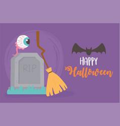 happy halloween tombstone broom bat and spooky eye vector image