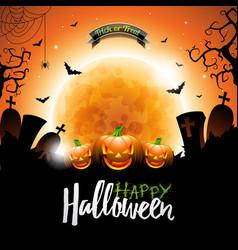 Happy halloween with bats pumpkins and moon vector