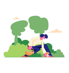 Happy woman character pick up mushroom and put it vector