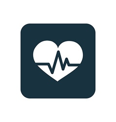 Heart pulse icon Rounded squares button vector