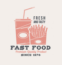 hot and fresh sandwich retro badge design vintage vector image