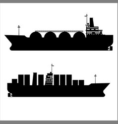 Icon set gas tanker lng cargo ship tanker with vector