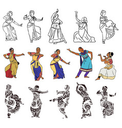 Indian dancers silhouettes vector