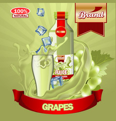 juice grapes ads with logo and label realistic vector image