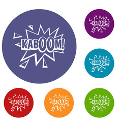 Kaboom explosion icons set vector