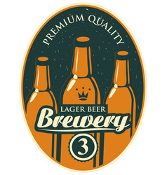 Label or banner for the brewery with beer bottles vector