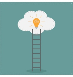 Ladder and cloud with idea light bulb Success vector