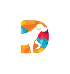 Letter d and dog head logo design vector
