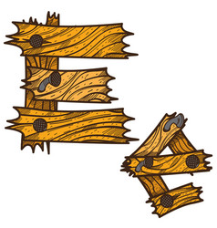 letter e from wooden planks alphabet vector image vector image